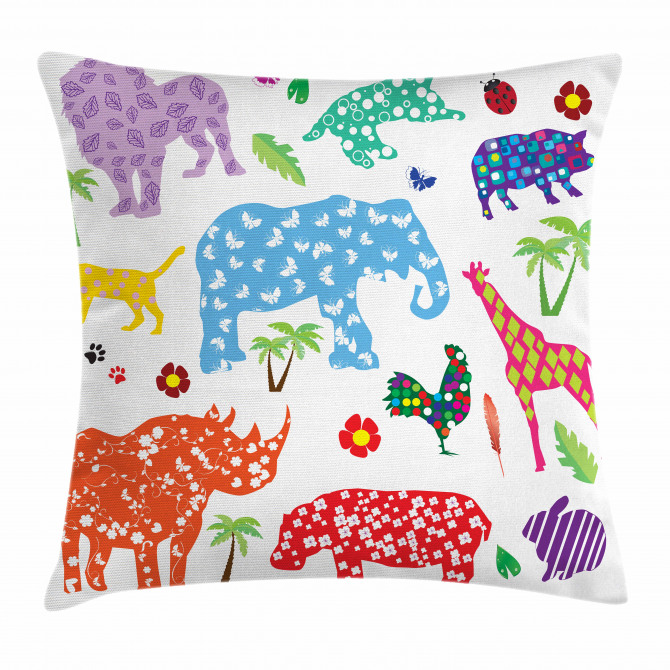 Wild Animals Floral Pillow Cover