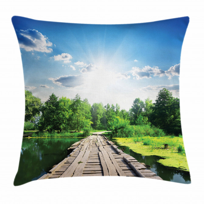 Wooden Bridge on River Pillow Cover