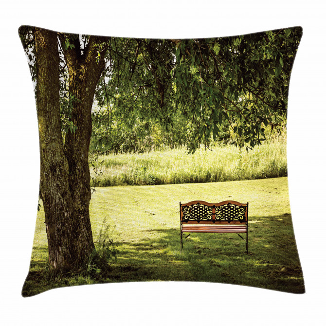Wooden Bench at Park Pillow Cover