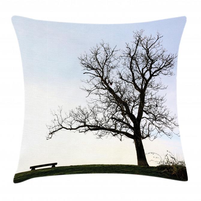 Wooden Bench Evening Pillow Cover