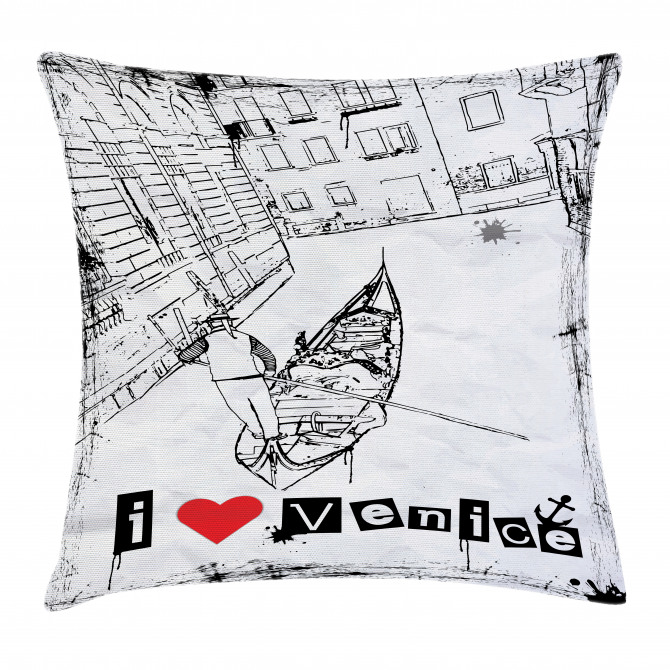 Venetian Canal Art Love Pillow Cover