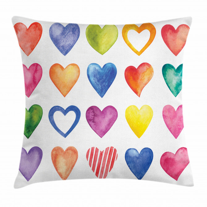 Watercolor Heart Romance Pillow Cover