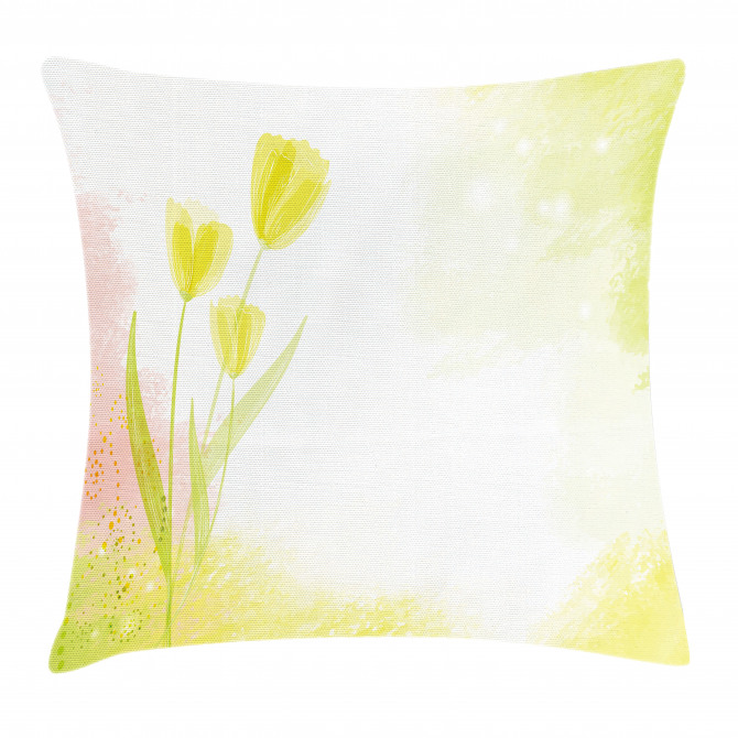 Tulip Flower Watercolor Pillow Cover