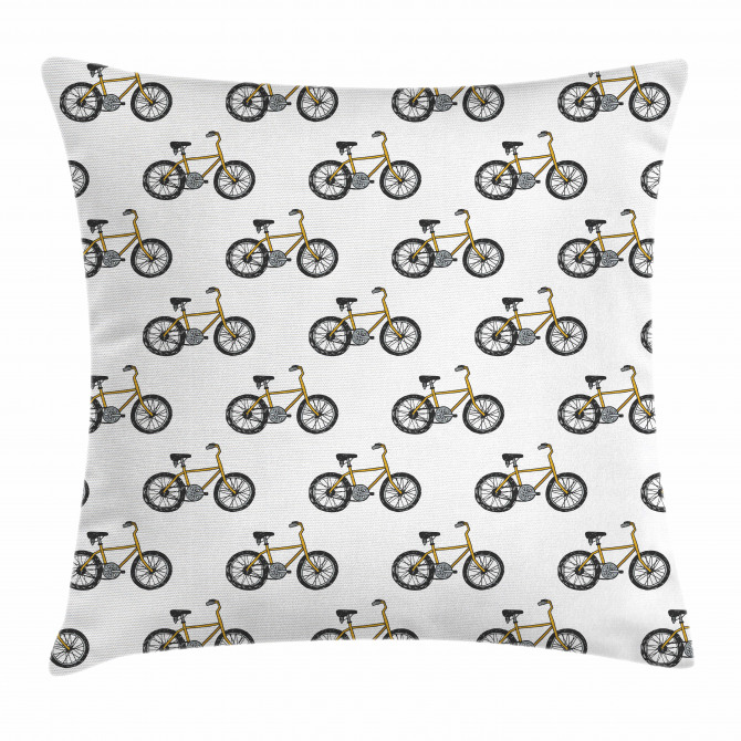 Yellow Bicycle Pattern Pillow Cover