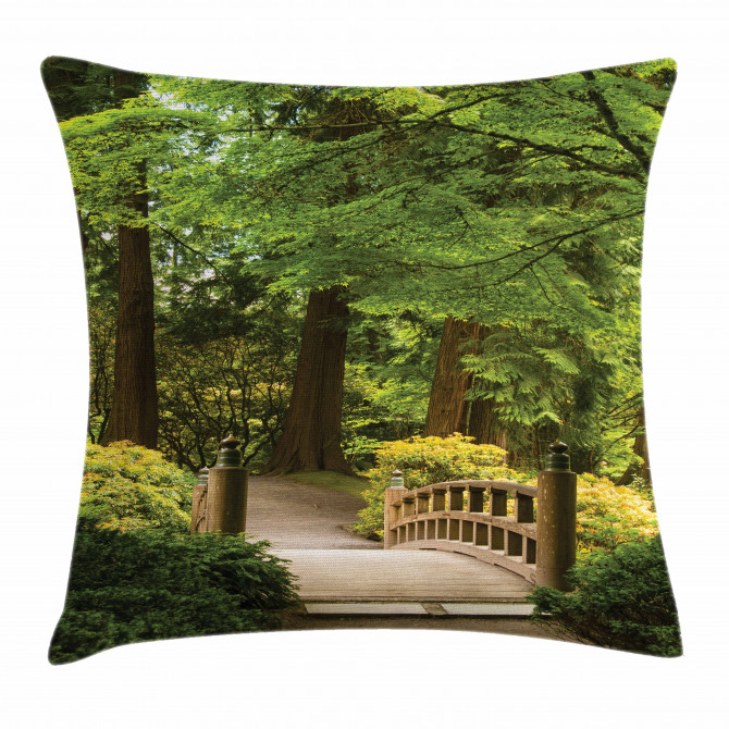 Wooden Bridge over Pond Pillow Cover