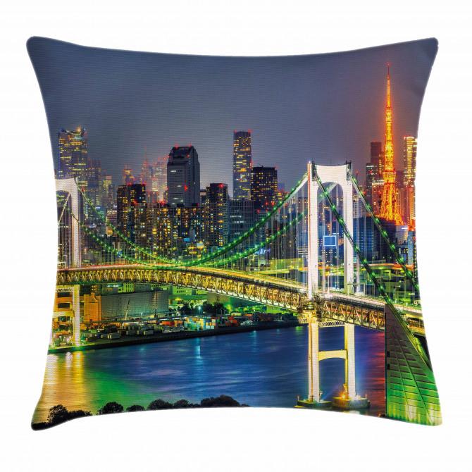 Tokyo Skyline Japanese Pillow Cover