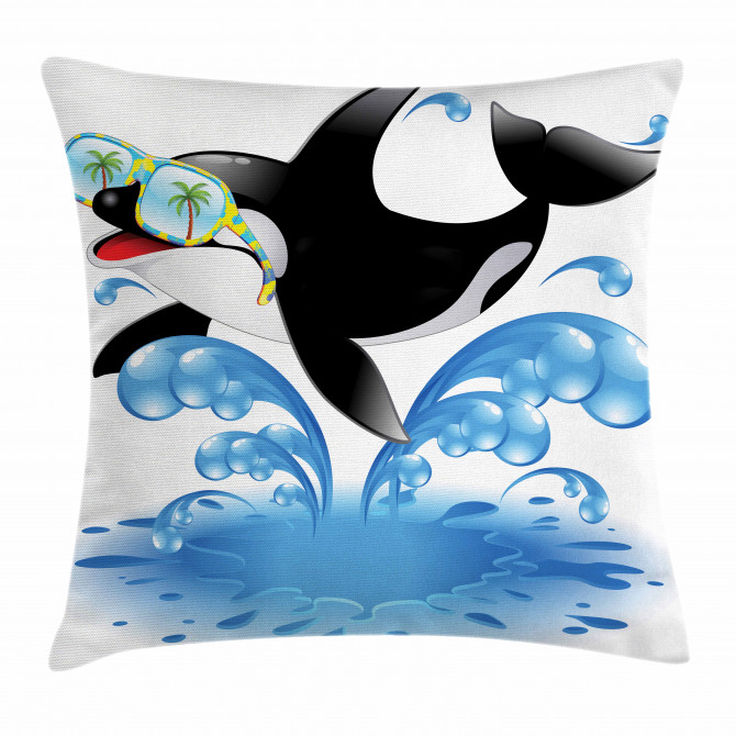 Whale with Sunglasses Pillow Cover