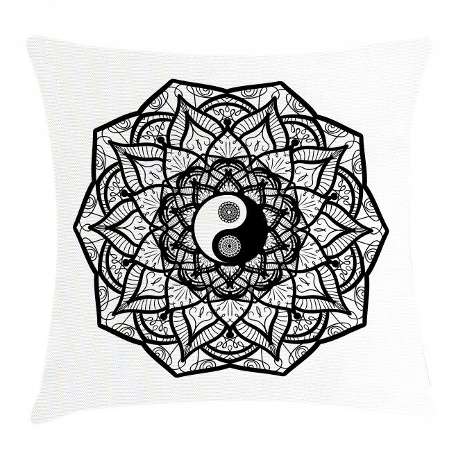 Ying Yang Black White Pillow Cover
