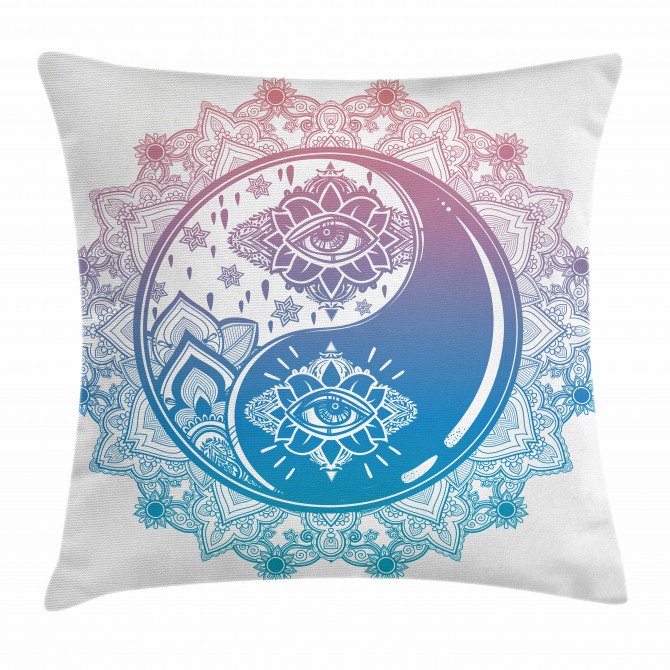 Ying Yang Mandala Asian Pillow Cover