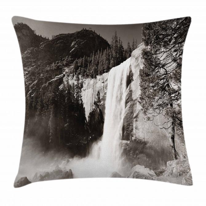 Waterfalls in Yosemite Pillow Cover