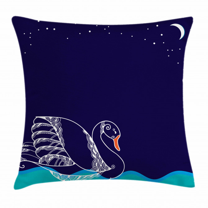 Floating Swan Waves Pillow Cover