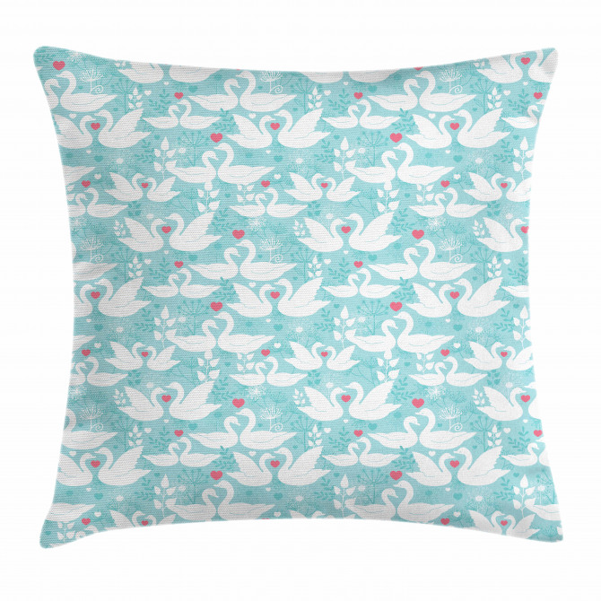 Swans in Love Dandelion Pillow Cover