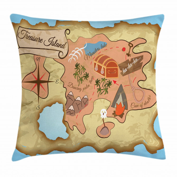 Treasure Map Adventure Pillow Cover