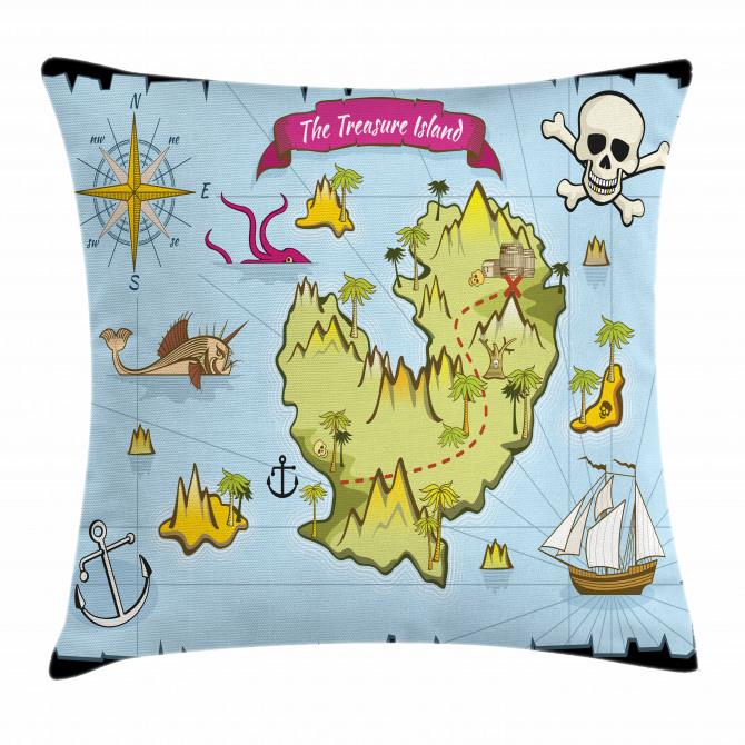 Treasure Island Skull Pillow Cover