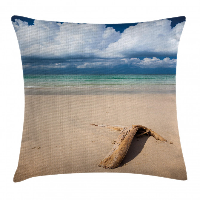 Sandy Beach and Clouds Pillow Cover