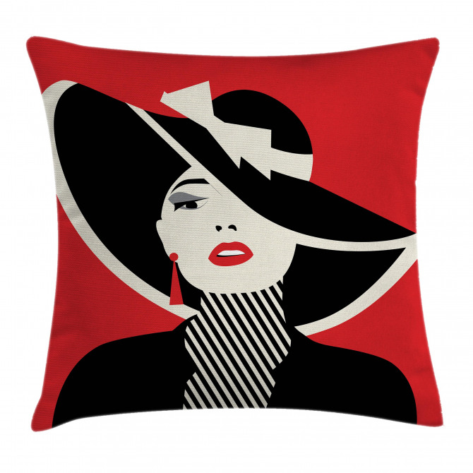 Women with Vintage Hat Pillow Cover