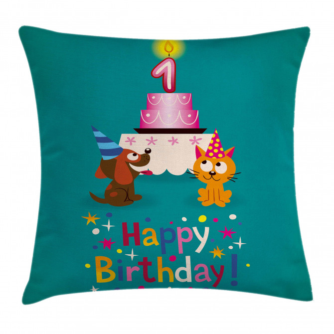 Birthday Party Cat Dog Pillow Cover