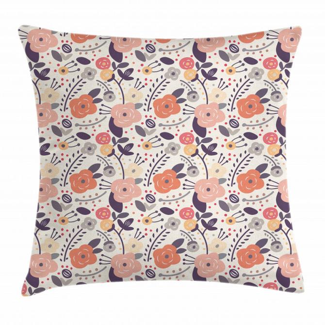 Vintage Doodle Floral Pillow Cover