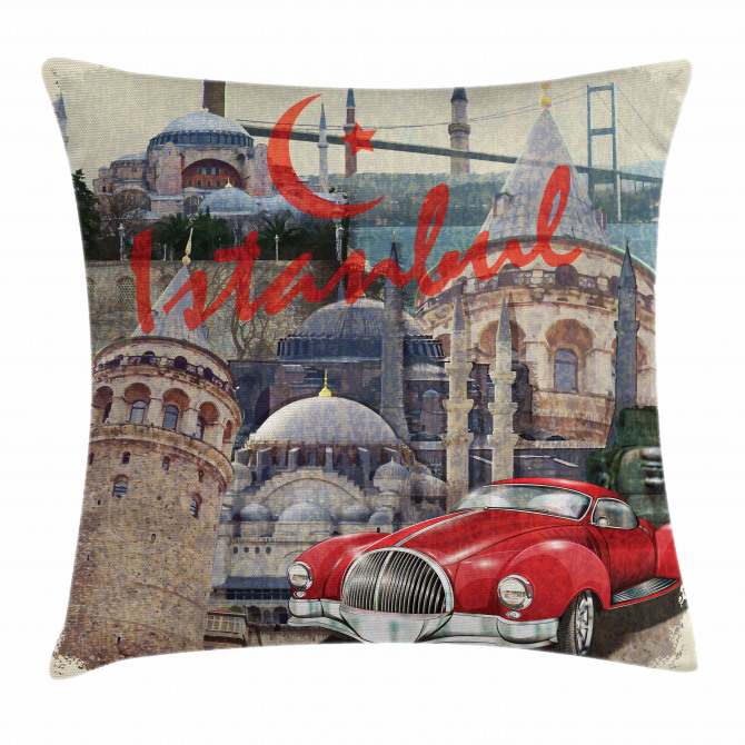 Vintage Collage Car Pillow Cover
