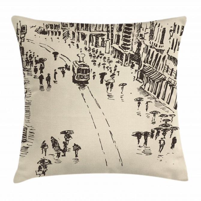 Cityscape Sketch Art Pillow Cover
