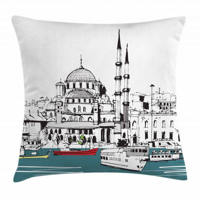 Coastal Town Harbor Pillow Cover