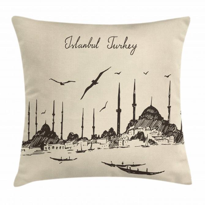 Sketch Skyline Gulls Pillow Cover