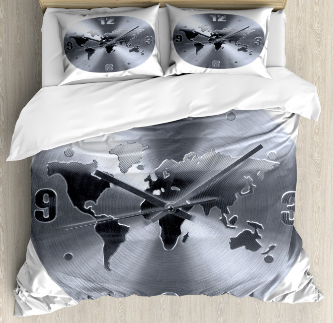 World Map Clock Pattern Duvet Cover Set