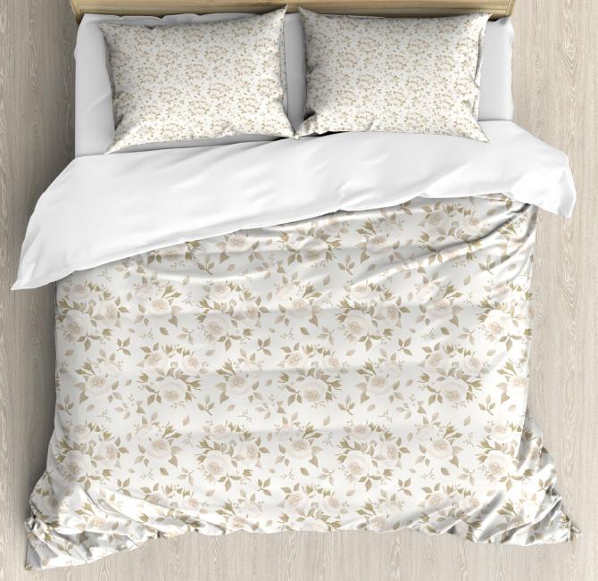 Rose Duvet Cover Set Blossoms Petals Essence with Pillow Sham(s)