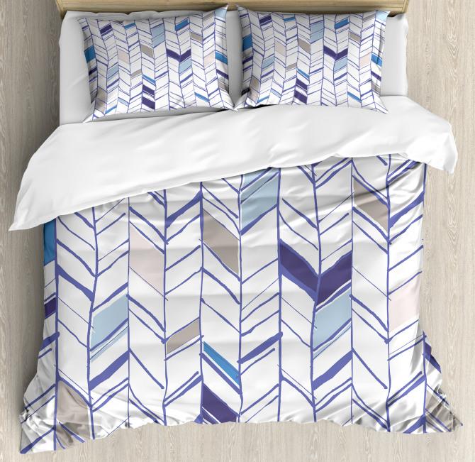Boho Zigzag Sketchy Line Duvet Cover Set