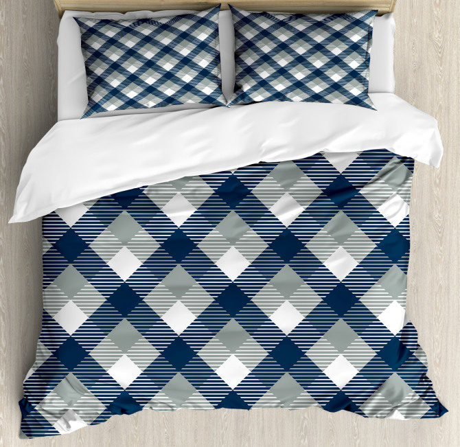 Checkered Tartan Shape Duvet Cover Set