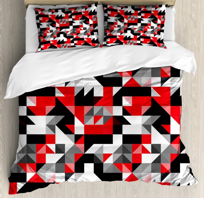 Red Black Duvet Cover Set Half Triangles Square with Pillow Sham(s)
