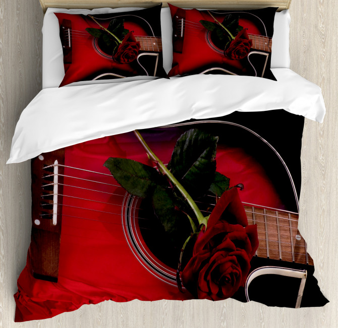 Guitar with Love Rose Duvet Cover Set