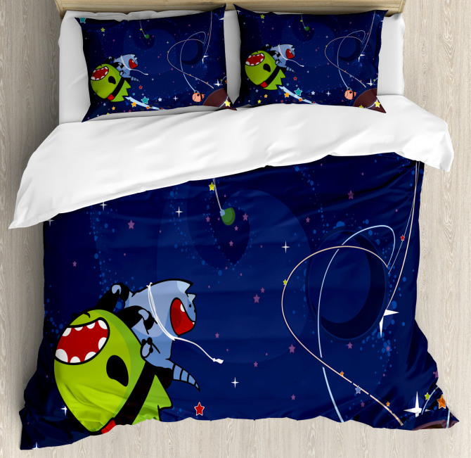 Cartoon Kitten Aliens Duvet Cover Set