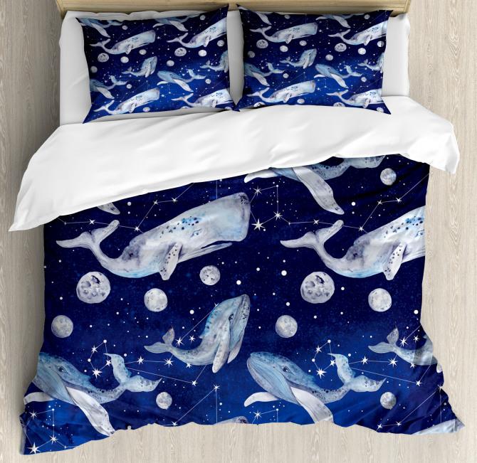 Whale Planet Cosmos Duvet Cover Set