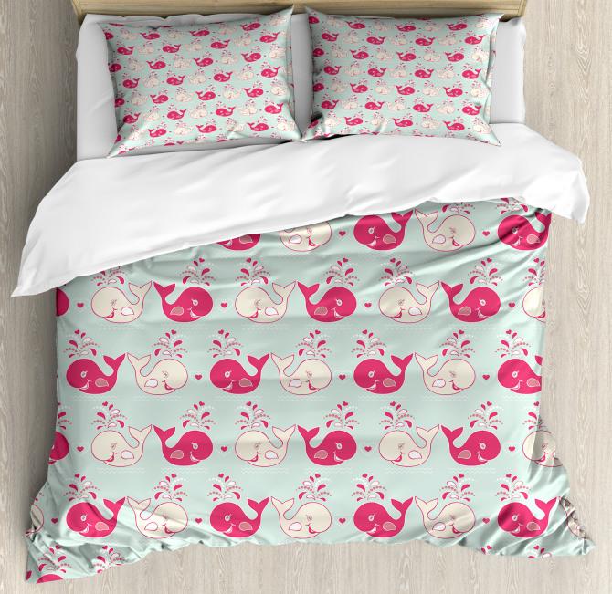 Cute Happy Whales Pattern Duvet Cover Set