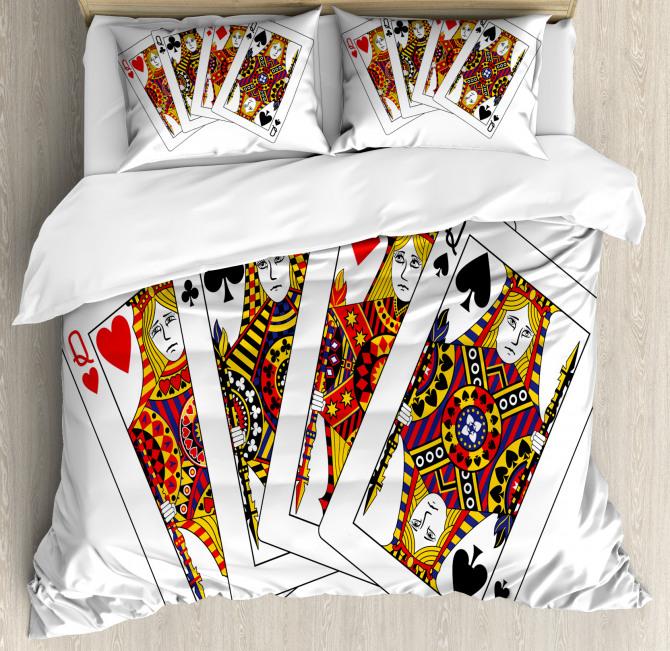 Queens Poker Play Cards Duvet Cover Set
