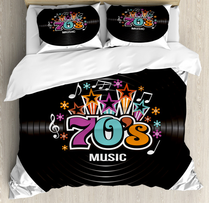 70s Record Discography Duvet Cover Set