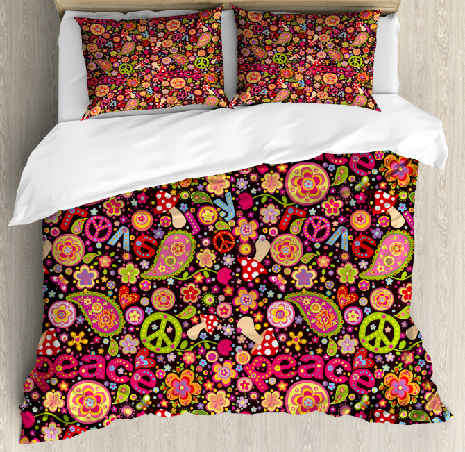 Peace Love Joyful Vivid Duvet Cover Set