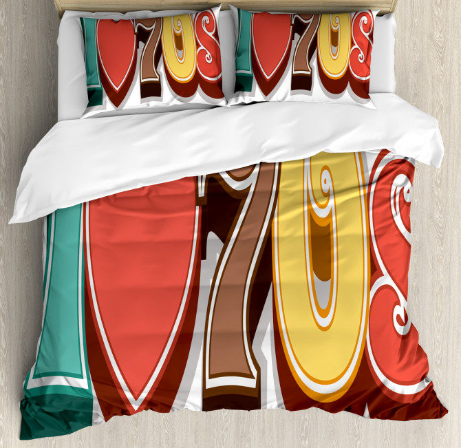 I Love Seventies Pastel Duvet Cover Set