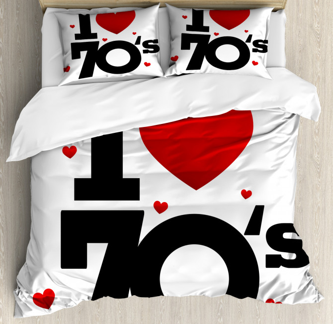 Seventies Icon Hearts Duvet Cover Set