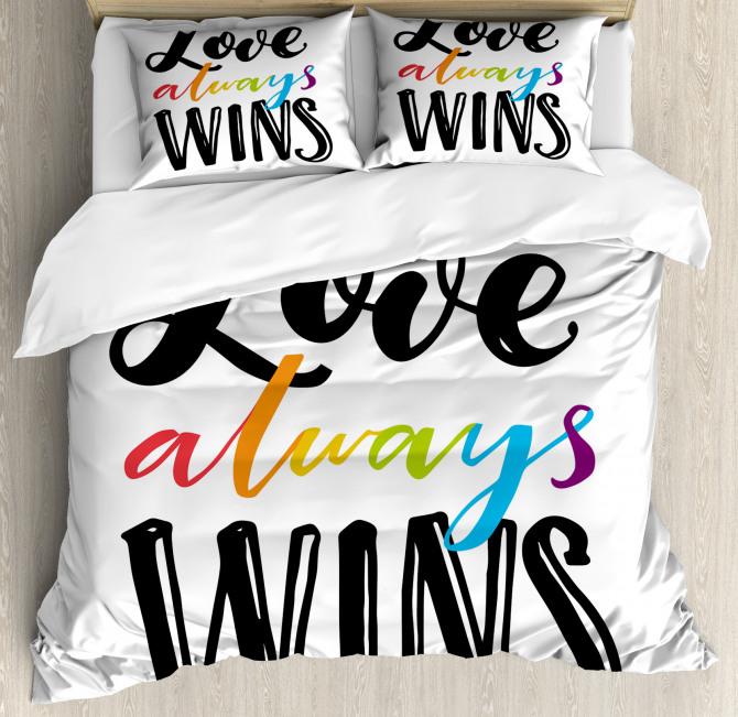 Love Always Wins Phrase Duvet Cover Set