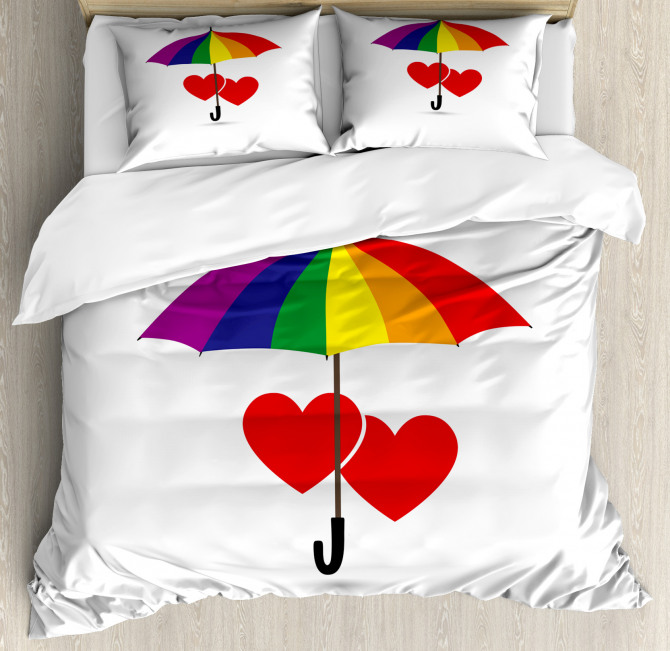 Hearts Umbrella Love Duvet Cover Set