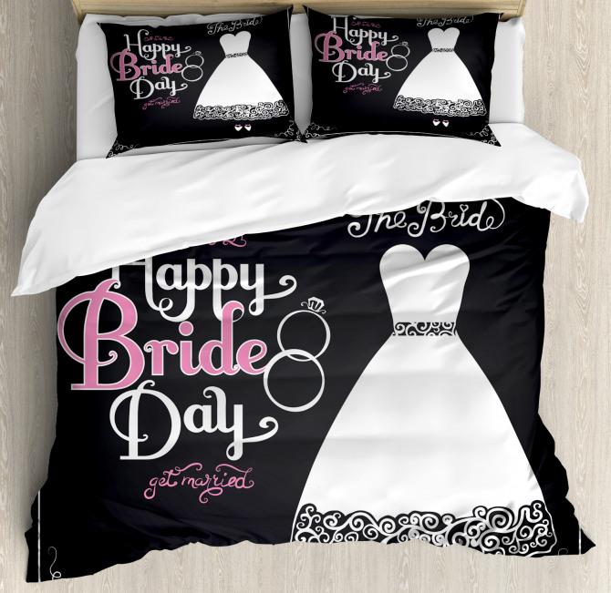 Happy Bride Day Quote Duvet Cover Set