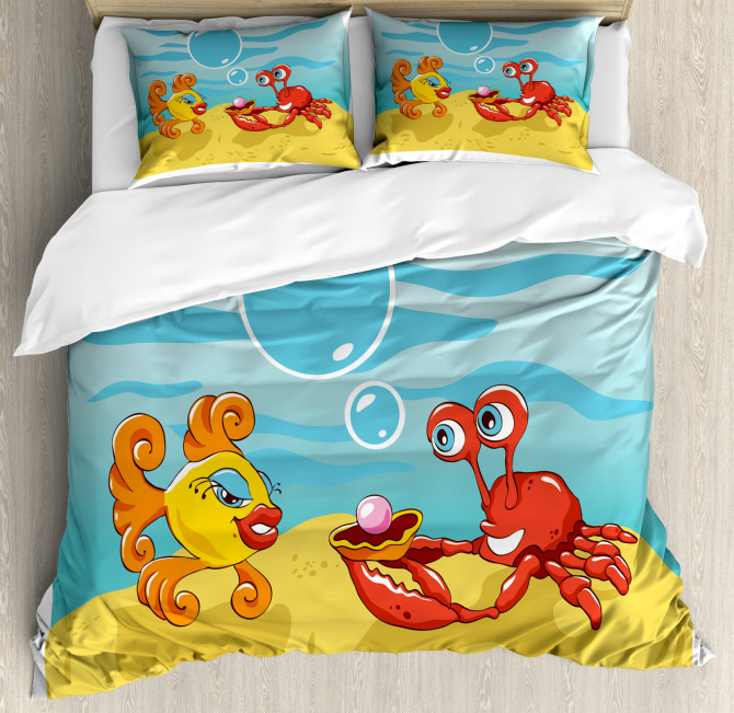 Fish Crab Cartoon Duvet Cover Set