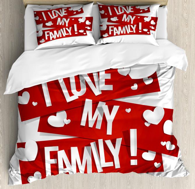 Family Love Heart Duvet Cover Set
