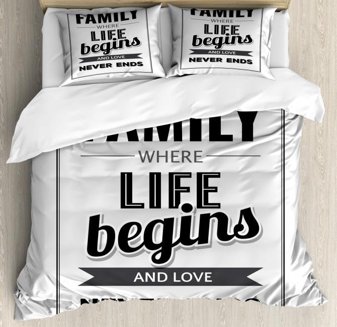 Family Phrase Motivation Duvet Cover Set
