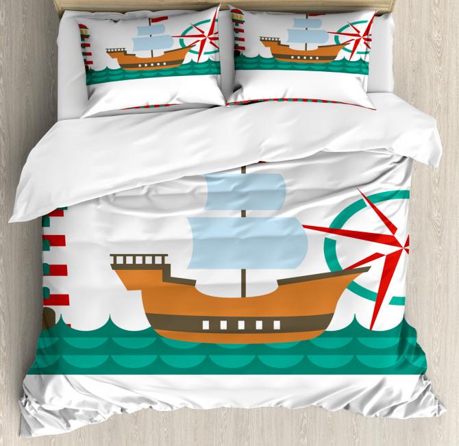 Boat Ahoy Compass Duvet Cover Set