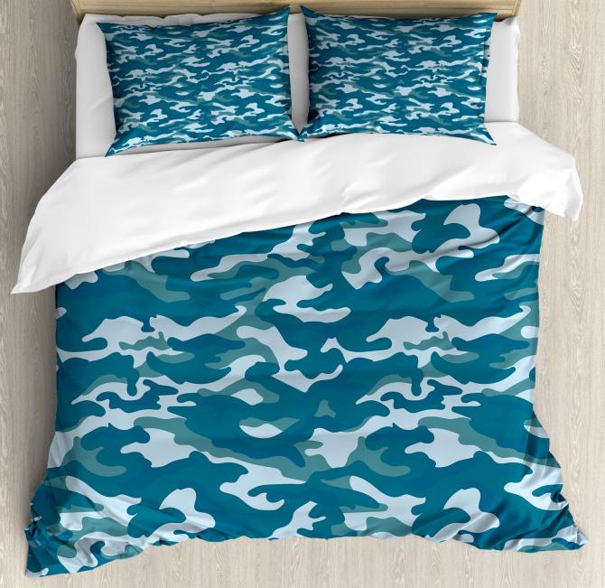 Camouflage Oceanic Colors Duvet Cover Set
