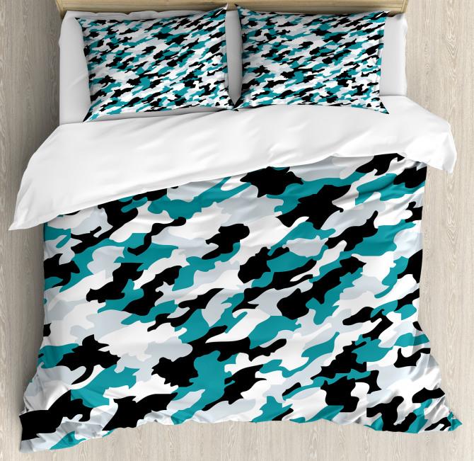Aquatic Camouflage Tile Duvet Cover Set