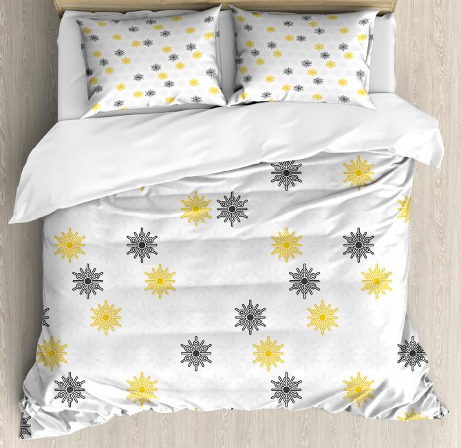 Sun Flowers Dots Duvet Cover Set